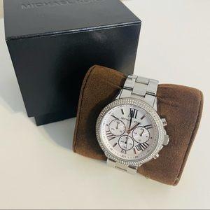Michael Kors Silver Watch with Rhinestones